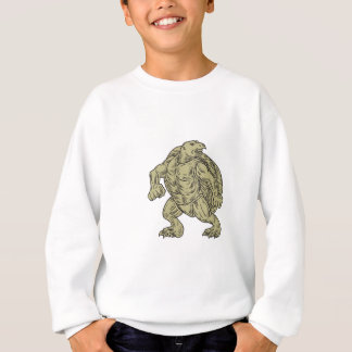 Ridley Sea Turtle Martial Arts Stance Drawing Sweatshirt
