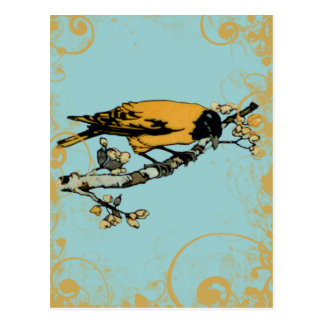 Rielaboration of Yellow Vintage Bird Illustration Postcard
