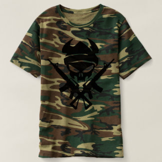 Rifle Skull and Crossbones Camo T Shirt