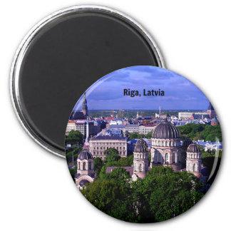 Riga, Latvia cityscape 6 Cm Round Magnet