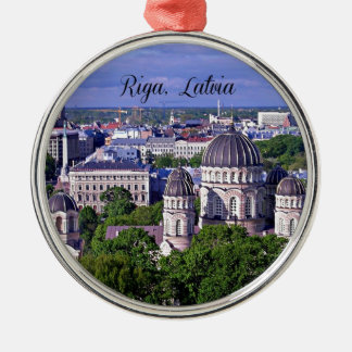 Riga, Latvia cityscape Silver-Colored Round Decoration