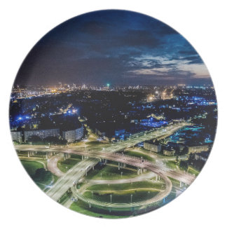 Riga Night Skyline Plate