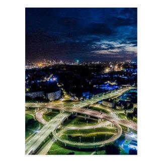 Riga Night Skyline Postcard