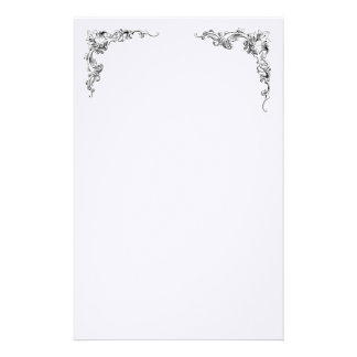 Right and Left Corner Flourish Design Stationery Paper