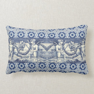 right-angled cushion azulejos and cherubs