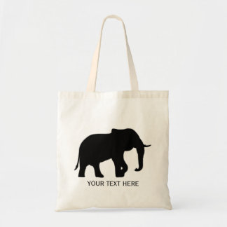 Right Elephant Silhouette black + your background Tote Bag