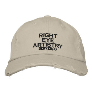 RIGHT    EYE ARTISTRY, DENVER,CO EMBROIDERED HAT