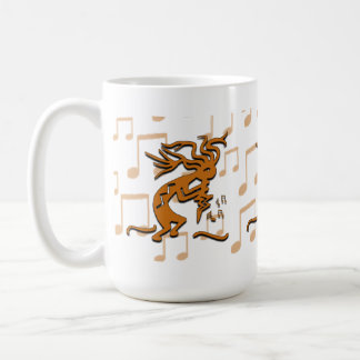 Right Facing Kokopelli Musician With Musical Notes Coffee Mug