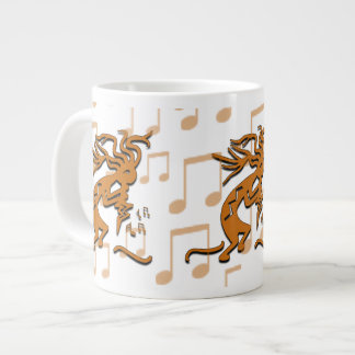 Right Facing Kokopelli Musician With Musical Notes Jumbo Mug