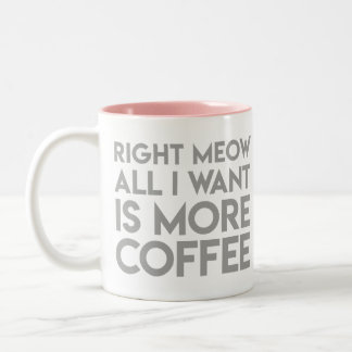 """Right meow all I want is more coffee"" Mug"