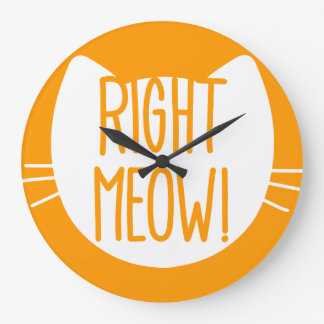 _right meow! large clock