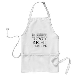 Right the 1st time..humor aprons