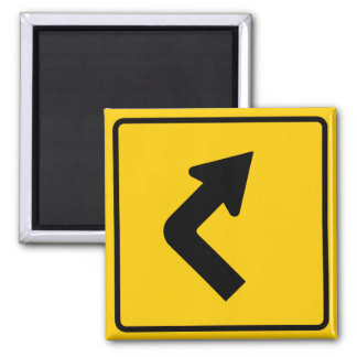 Right Turn Ahead Highway Sign Square Magnet