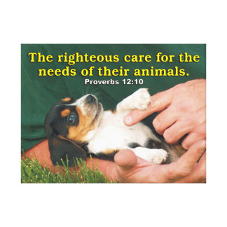 Righteous Care For The Needs Of Their Animals Canvas Print