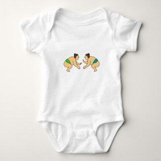 Rikishi Sumo Wrestler Face Off Mono Line Baby Bodysuit