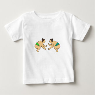 Rikishi Sumo Wrestler Face Off Mono Line Baby T-Shirt