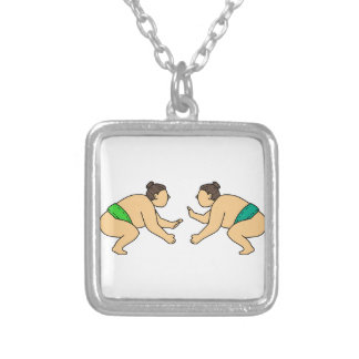 Rikishi Sumo Wrestler Face Off Mono Line Silver Plated Necklace