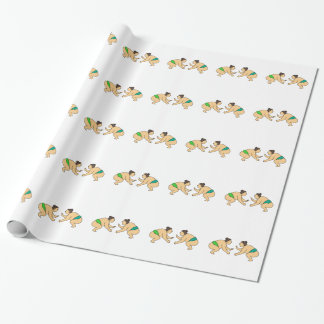Rikishi Sumo Wrestler Face Off Mono Line Wrapping Paper