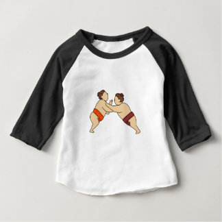 Rikishi Sumo Wrestler Pushing Side Mono Line Baby T-Shirt