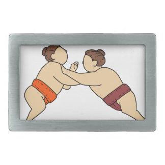 Rikishi Sumo Wrestler Pushing Side Mono Line Belt Buckle