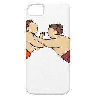 Rikishi Sumo Wrestler Pushing Side Mono Line iPhone 5 Cover