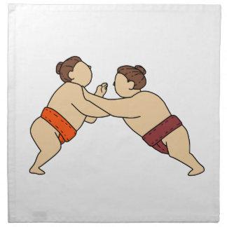 Rikishi Sumo Wrestler Pushing Side Mono Line Napkin