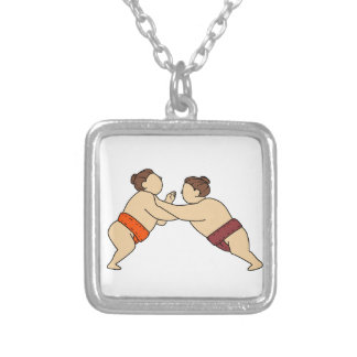 Rikishi Sumo Wrestler Pushing Side Mono Line Silver Plated Necklace