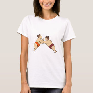 Rikishi Sumo Wrestler Pushing Side Mono Line T-Shirt