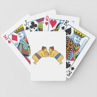 Rikishi Sumo Wrestlers Mono Line Bicycle Playing Cards