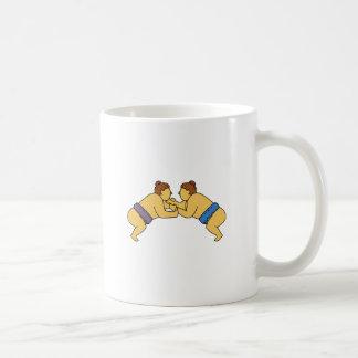 Rikishi Sumo Wrestlers Mono Line Coffee Mug