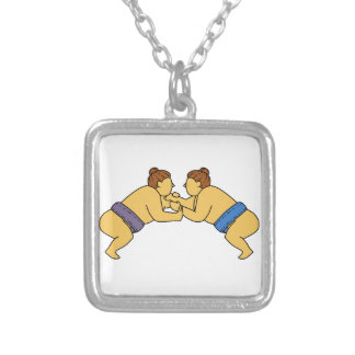Rikishi Sumo Wrestlers Mono Line Silver Plated Necklace
