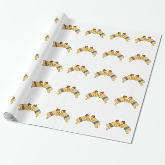 Rikishi Sumo Wrestlers Mono Line Wrapping Paper