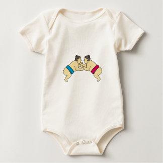 Rikishi Sumo Wrestlers Wrestling Side Mono Line Baby Bodysuit