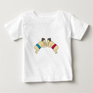 Rikishi Sumo Wrestlers Wrestling Side Mono Line Baby T-Shirt