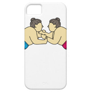 Rikishi Sumo Wrestlers Wrestling Side Mono Line iPhone 5 Cases