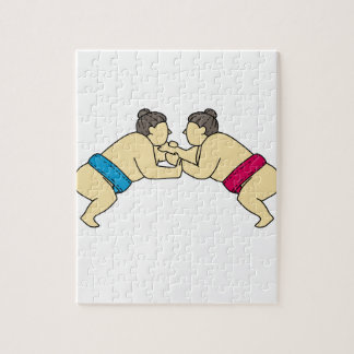 Rikishi Sumo Wrestlers Wrestling Side Mono Line Jigsaw Puzzle