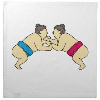 Rikishi Sumo Wrestlers Wrestling Side Mono Line Napkin