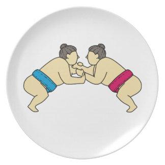 Rikishi Sumo Wrestlers Wrestling Side Mono Line Plate