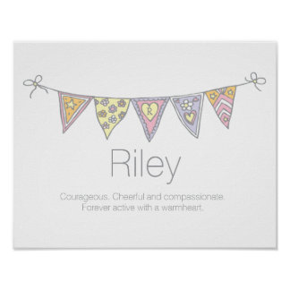 Riley girls name and meaning bunting poster