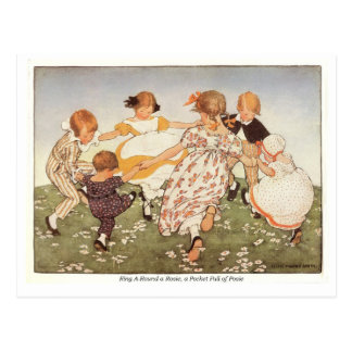 Ring A-Round a Rosie Nursery Rhyme Postcard