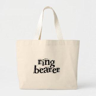 Ring Bearer Black Text Large Tote Bag
