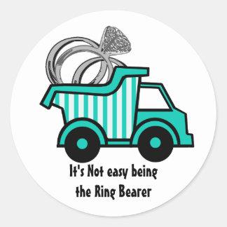 Ring Bearer Dump Truck Round Sticker