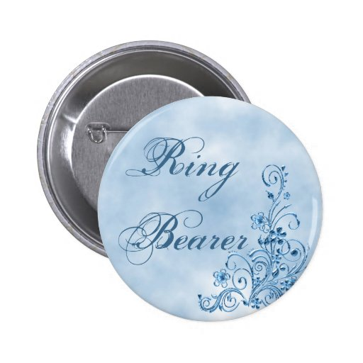 Ring Bearer Round Button: Sky Blue Elegance
