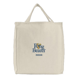 Ring Bearer Teddy Bear Embroidered Tote Bag