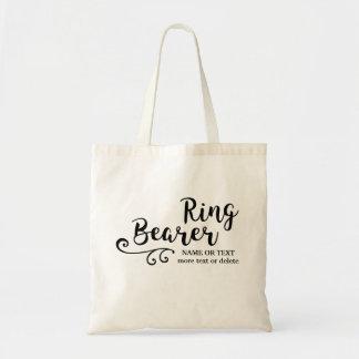 Ring Bearer Wedding Cool Modern Script Typography Budget Tote Bag