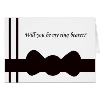 Ring Bearer Wedding Invitation Black Bow tie Card