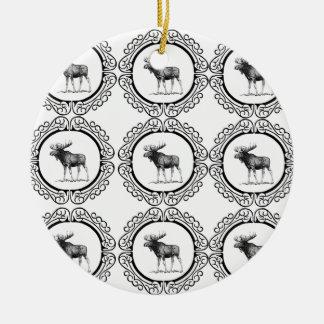 ring herd of moose ceramic ornament