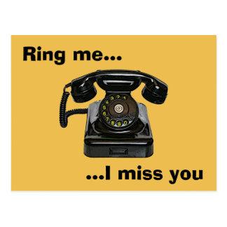 Ring me...I miss you vintage telephone Postcard