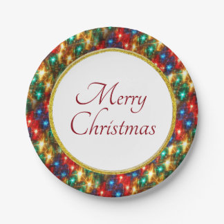 Ring of Cheerful Christmas Lights Paper Plate