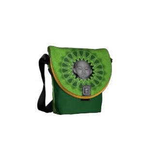 Ring of Green Photo Frame Kaleidoscope Mandala Commuter Bag